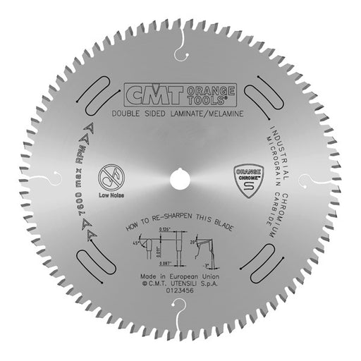 "CMT Orange Chrome Carbide Full Kerf 12"" Double-Sided Laminate / Melamine Crosscutting Blade, 96 Teeth, Triple Chip Grind (TCG), 0.126"" Kerf 281.697.12"