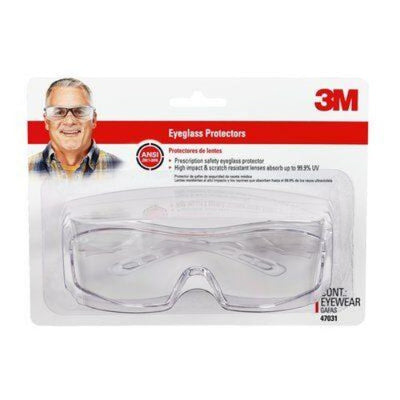3M™ Over The Glasses Safety Eyewear, Clear Frame, Clear/Scratch Resistant Lens