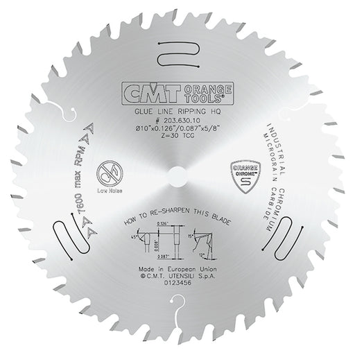 "CMT Orange Chrome 10"" Carbide Heavy Duty Glue Joint Rip Saw Blade, 30 Teeth, Triple Chip Grind (TCG)  0.126"" Kerf 203.630.10"