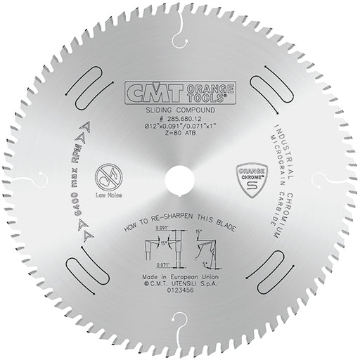 "CMT Orange Chrome Carbide 12"" Thin Kerf  Fine Finish Sliding Compound Crosscut Blade, 80 Teeth, Alternate Top Bevel Grind, 0.091"" Kerf 285.680.12"