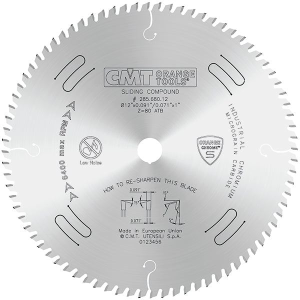 "CMT Orange Chrome Carbide 12"" Full Kerf  Heavy Duty Crosscut Blade, 72 Teeth, Alternate Top Bevel Grind, 0.126"" Kerf 285.672.12"