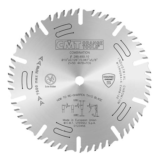 "CMT Orange Chrome Carbide 10"" General Purpose Combination Blade, 50 Teeth, 4  Alternate Top Bevel (ATB) and 1 Triple Chip Grind (TCG) 0.126"" Kerf 285.650.10"