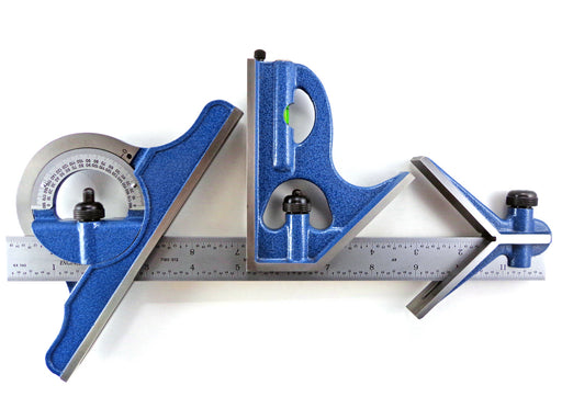 "PEC Tools 12"" 4R 4 Piece Combination Square with Center Finder, Protractor"