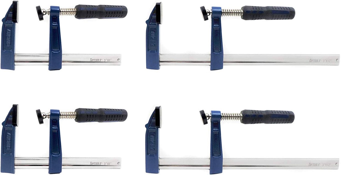 "4 Pack 2 Each 6"" & 12"" Medium Duty F Style Bar Clamps, 3"" Throat"