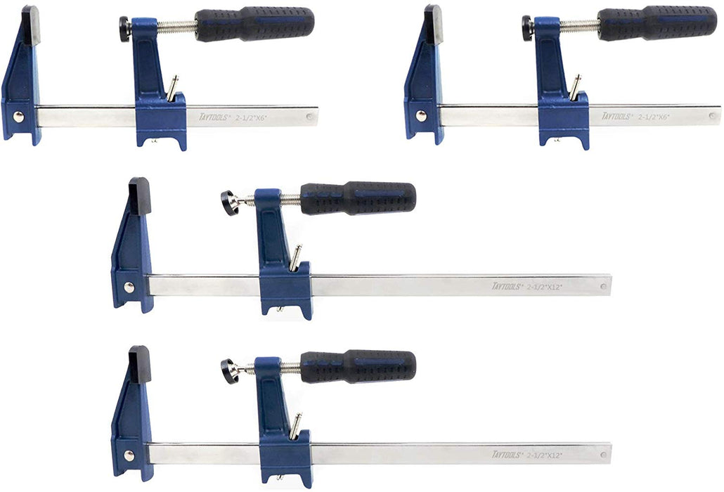 "4 Pack 2 Each 6"" & 12"" Medium Duty F Style Bar Clamps, 2-1/2"" Throat"
