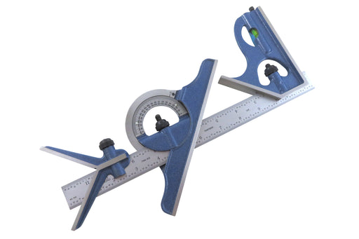 "PEC Tools 12"" 16R 4 Piece Combination Square with Center Finder, Protractor"