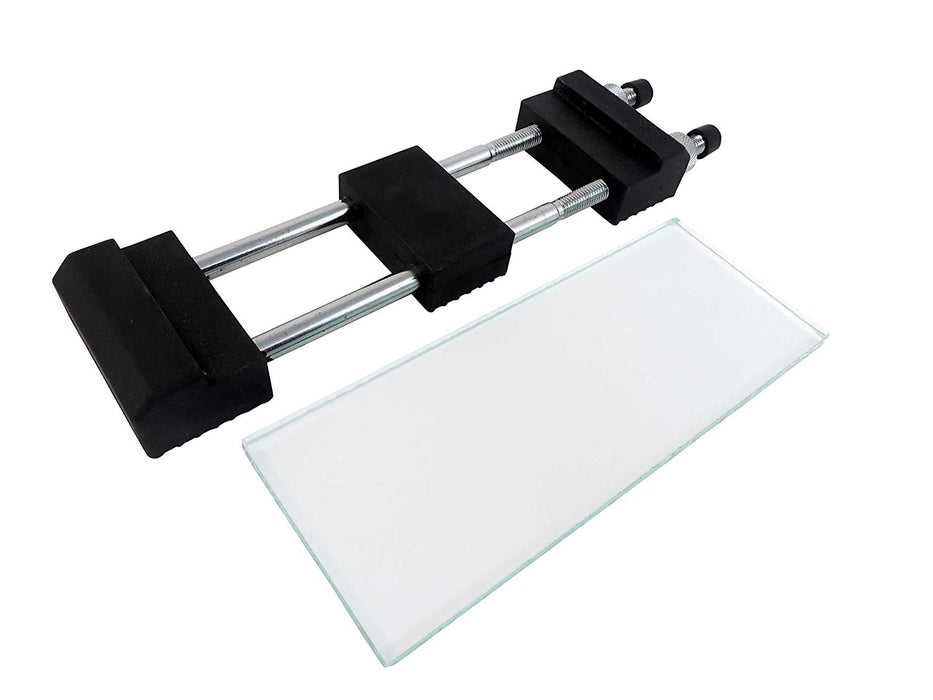 "One Sheet Float Glass 5/16"" x 3-1/4"" x 8-1/4"" and Anti-Slip Stone Holder"