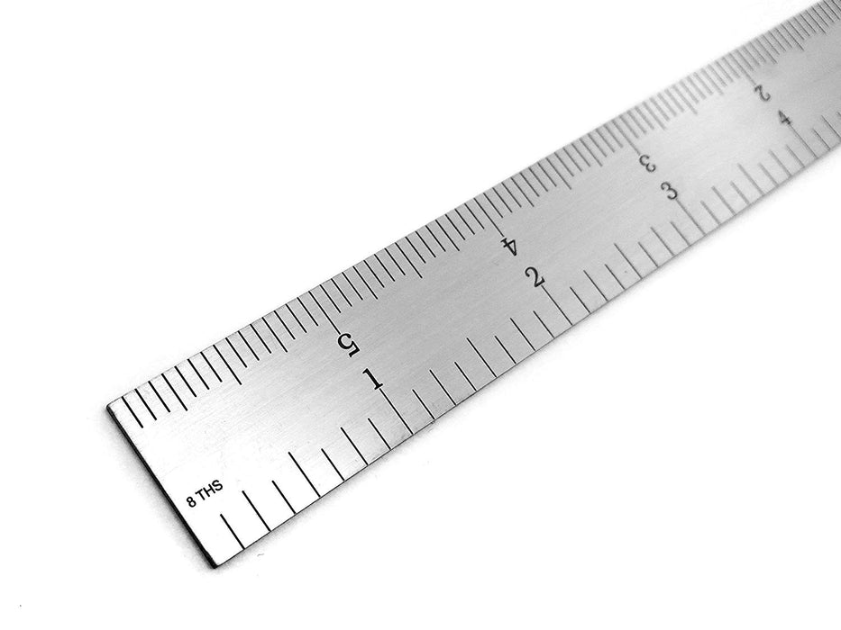 "Benchmark Tools™ Rigid 6"" 4R Brushed Steel Machinist Rulers"