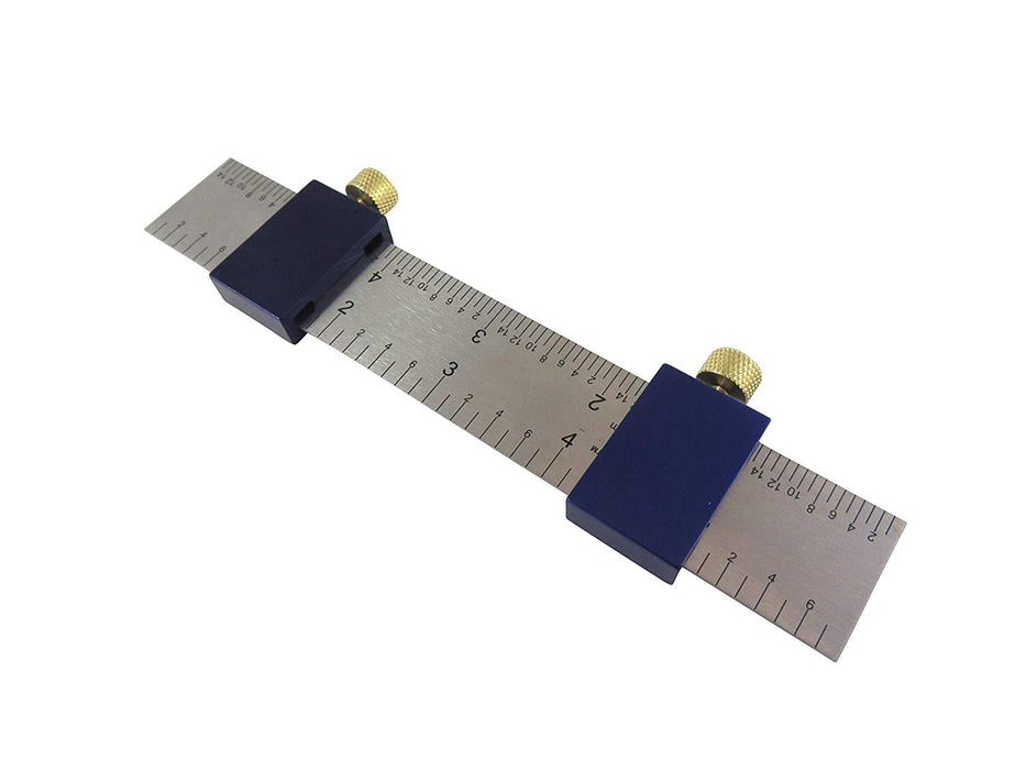 "Pair (2) Anodized Aluminum Ruler Stops and 6"" Steel Machinist Ruler 4R"