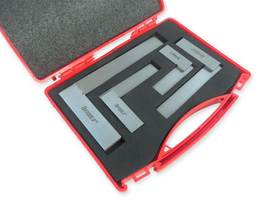 "4 Piece Set of Solid Machinist Squares: 2-3/4"", 3-3/4"", 4-3/4"" and 6-3/4"", Accurate to 0.001"""