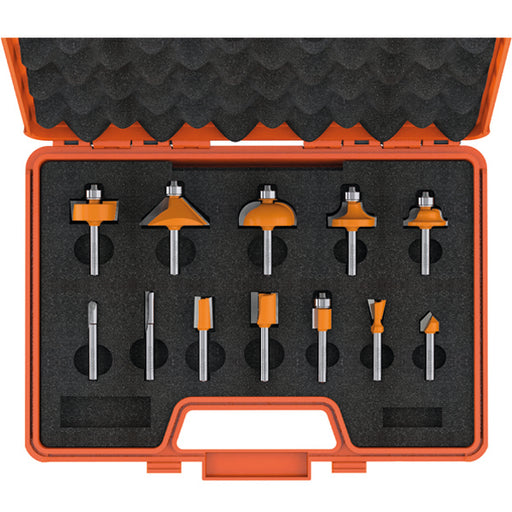 "CMT 12 Piece Router Bit Set in Case Carbide Tipped 1/4"" Shanks"