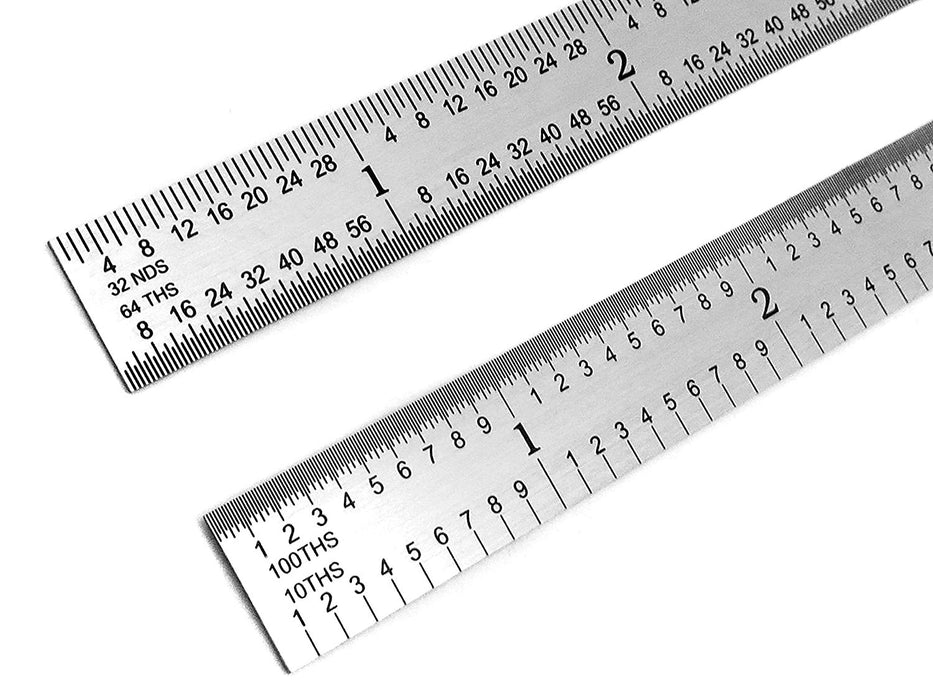 "Benchmark Tools™ Flexible 12"" 5R Brushed Steel Machinist Rulers"