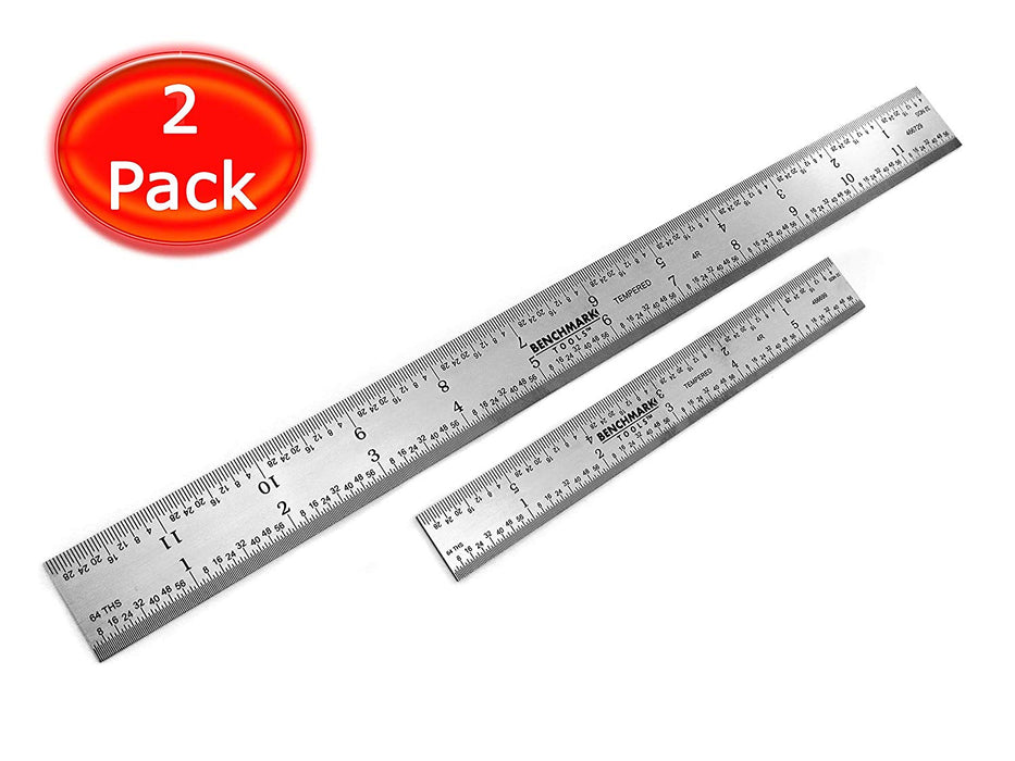 Benchmark Tools™ 2 Piece Rigid 4R Brushed Steel Ruler Sets