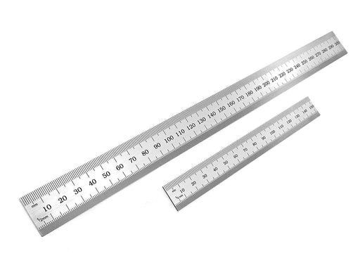 Benchmark Tools™ 2 Piece Rigid English/Metric Brushed Steel Ruler Sets