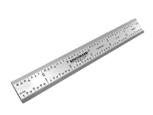 "Benchmark Tools™ Rigid 150mm (6"") English/Metric Brushed Steel Machinist Rulers"