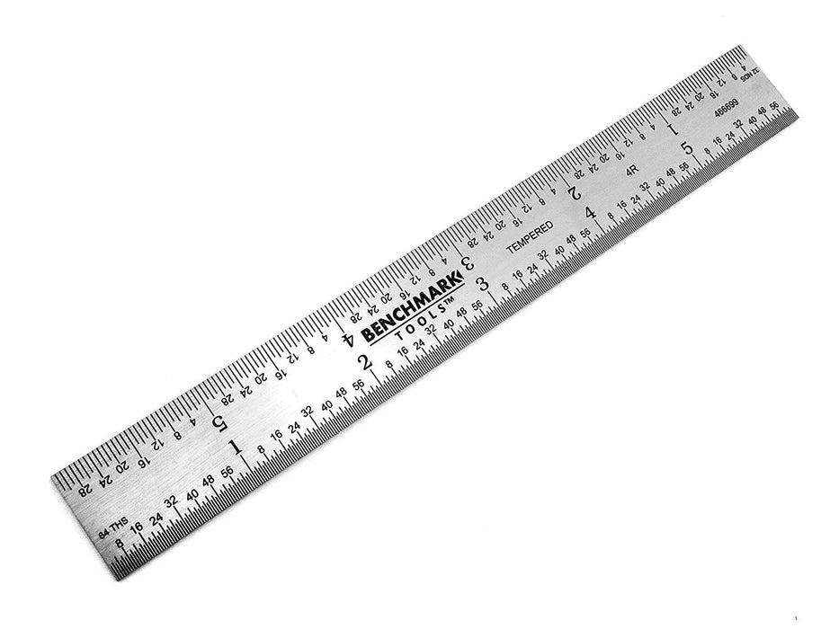 "Benchmark Tools™ Rigid 6"" 5R Brushed Steel Machinist Rulers"