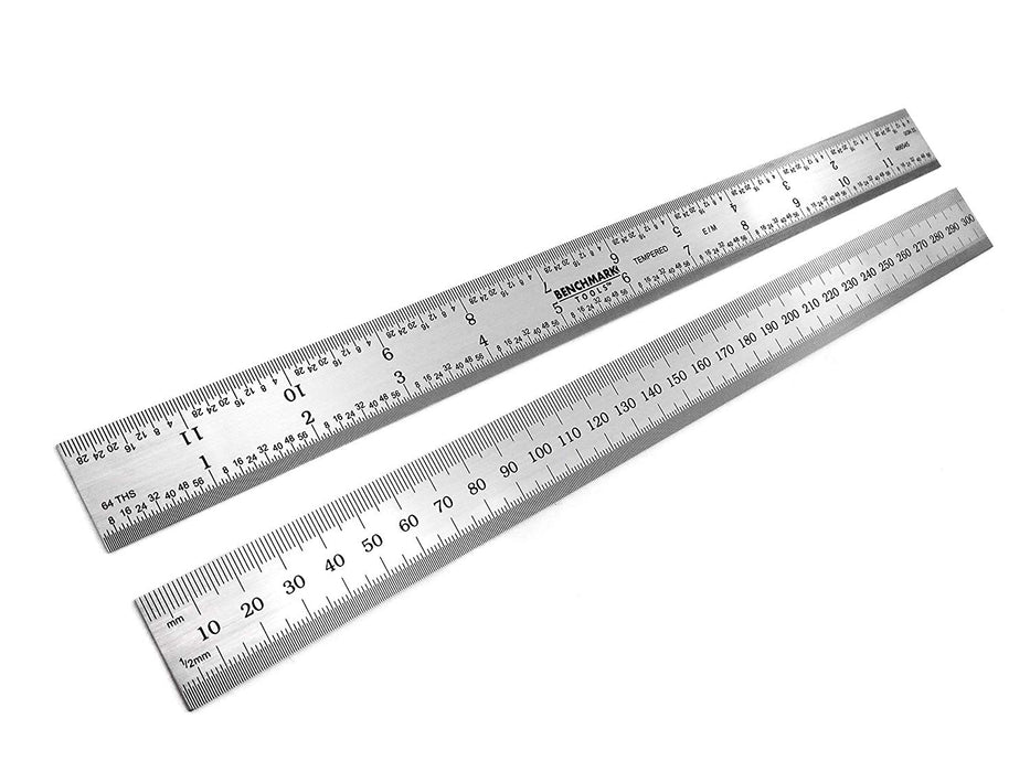 "Benchmark Tools™ Rigid 300mm (12"") English/Metric Satin Chrome Machinist Rulers"