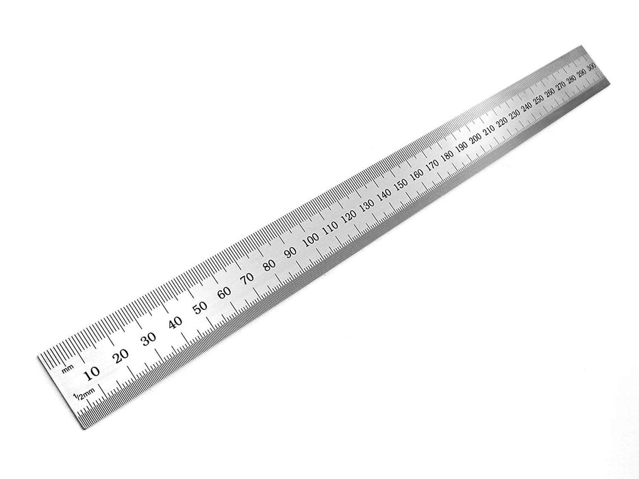 "Benchmark Tools™ Rigid 300mm (12"") English/Metric Brushed Steel Machinist Rulers"