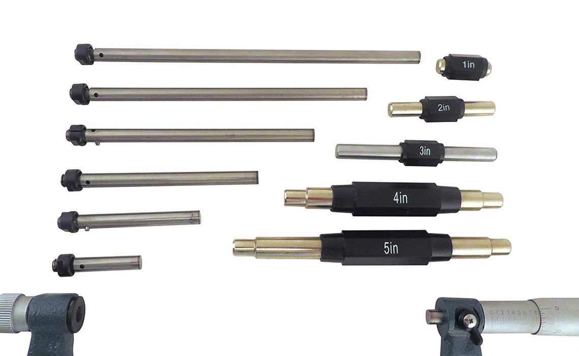 "0-6"" Outside Micrometer Caliper Set with 6 Interchangeable Anvils, Carbide Faces"