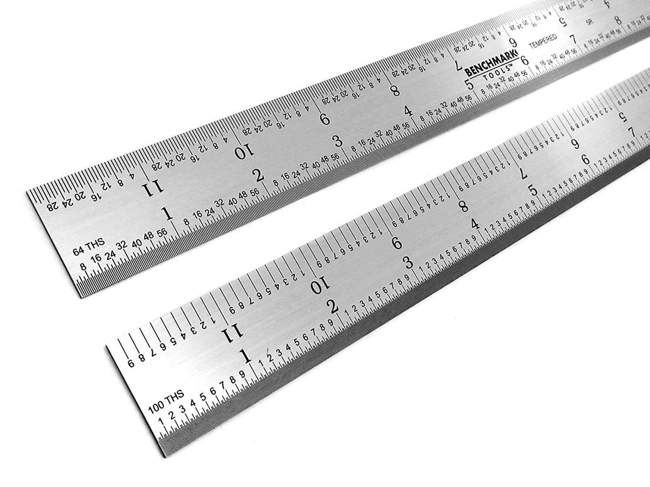 "Benchmark Tools™ Rigid 12"" 5R Brushed Steel Machinist Rulers"