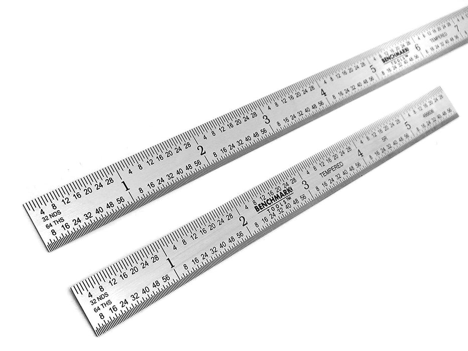 Benchmark Tools™ 2 Piece Flexible 5R Brushed Steel Ruler Sets