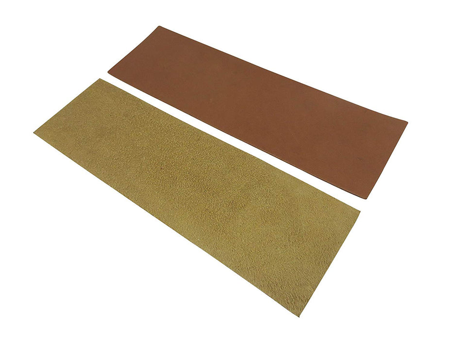 "2 Piece 3"" x 10"" Leather Strop Kit with 1.2oz Chromium Oxide 0.5 Micron Polishing Compound Bar"