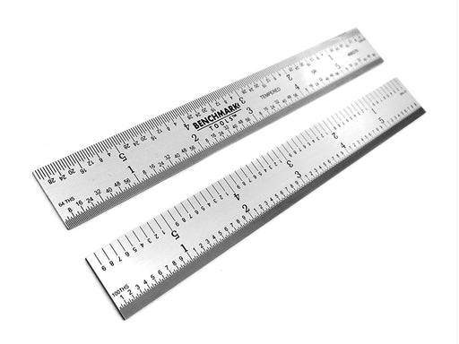 "Benchmark Tools™ Rigid 6"" 5R Satin Chrome Machinist Rulers"