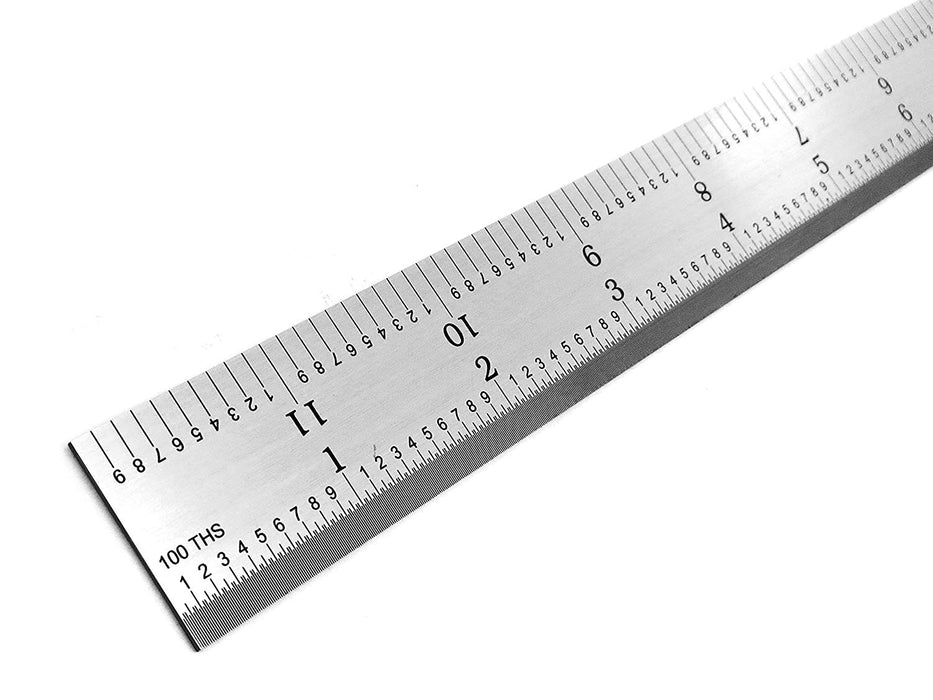 "Benchmark Tools™ Rigid 12"" 5R Satin Chrome Machinist Rulers"