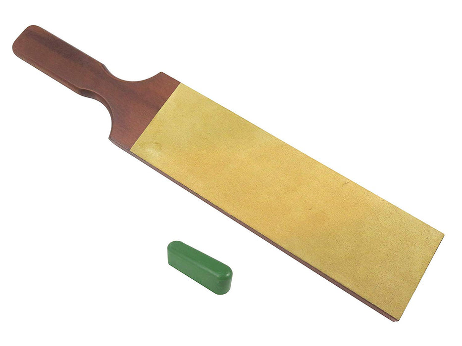 "French 2-Sided 3"" x 10"" Leather Strop with 1.2oz Chromium Oxide 0.5 Micron Polishing Compound Bar"