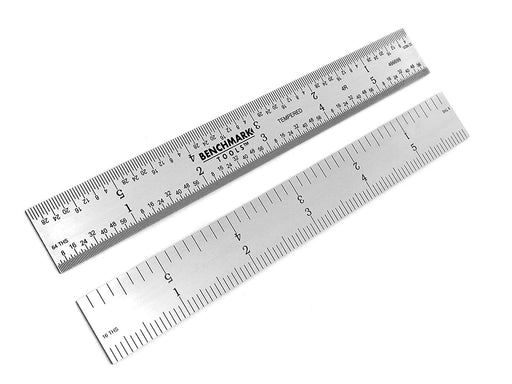"Benchmark Tools™ Rigid 6"" 4R Satin Chrome Machinist Rulers"
