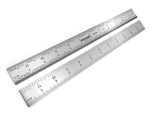 "Benchmark Tools™ Rigid 12"" 4R Satin Chrome Machinist Rulers"