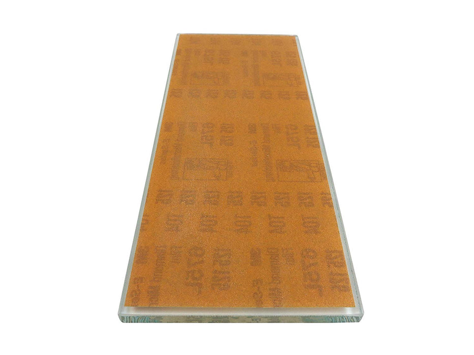 "10-1/4"" x 4-1/4"" 125 Micron (120 Grit) 3M™ Diamond Flattening Plate Sharpening Stone Affixed to 5/16"" Float Glass"