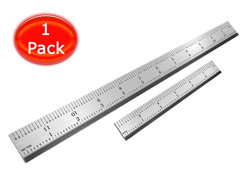 Benchmark Tools™ 2 Piece Rigid 5R Brushed Steel Ruler Sets