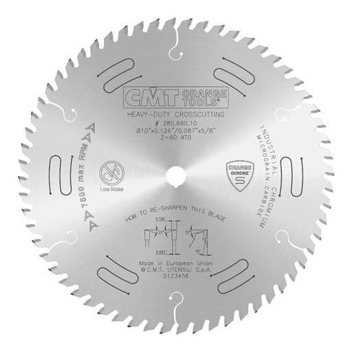 "CMT Orange Chrome Carbide Full Kerf 10"" Ultimate Crosscutting Blade, 60 Teeth, Alternate Top Bevel Grind, 0.126"" Kerf 285.660.10"
