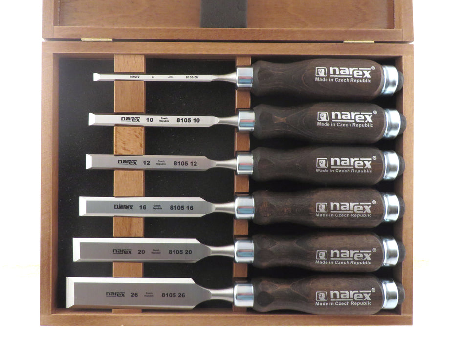 Narex 6 Piece Standard Bevel Edge Chisel Set in Wooden Presentation Box (853053)