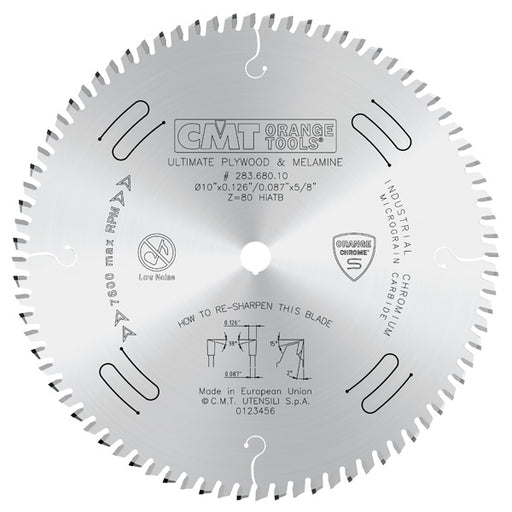 "CMT Orange Chrome Carbide Full Kerf 10"" Ultimate Crosscutting Blade, 80 Teeth, High Alternate Top Bevel Grind (HiATB), 0.126"" Kerf 283.680.10"