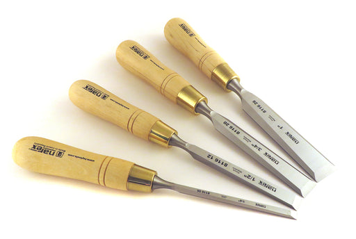 "Narex 4 Piece Premium Imperial Bevel Edge Chisel Set (1/4"", 1/2"", 3/4"", 1"") 863251"