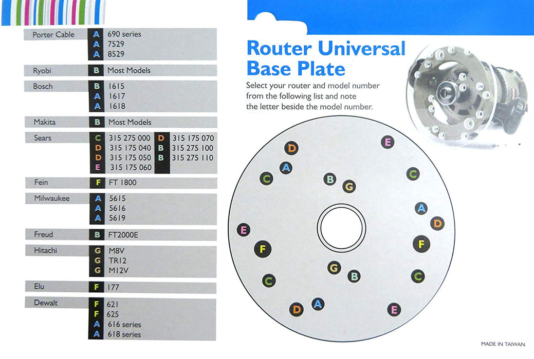 "Universal Router Base Plate, 6-1/2"" Diameter, 5/16"" Thick"