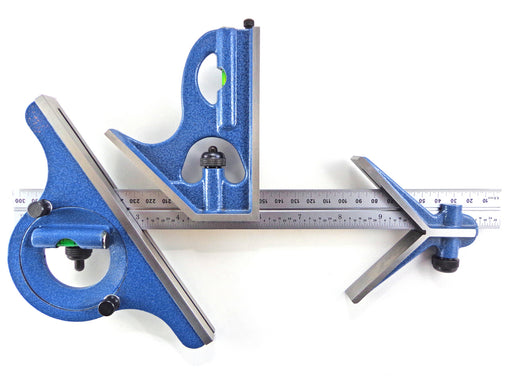 "PEC Tools 12"" (300mm) English/Metric 4 Piece Combination Square, Center Finder, Protractor"