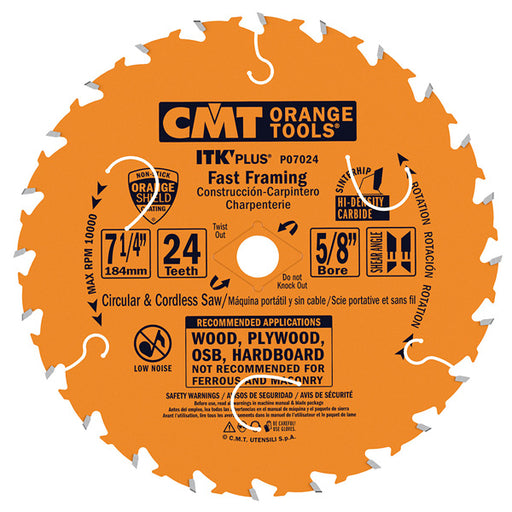 "CMT ITK PLUS Fast Framing Circular Saw Blade 7-1/4"", 24 Teeth, 5/8"" Arbor, Alternate Top Bevel (ATP) Grind with Shear, PTFE Coated P07024_X1"