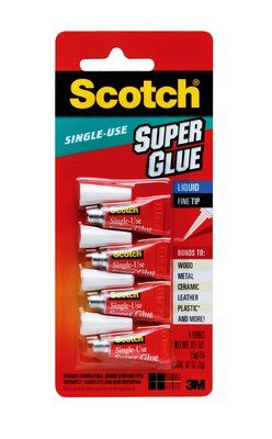 Scotch® CA Super Glue Liquid AD114, 4-Pack of Single-Use Tubes, .017 oz each