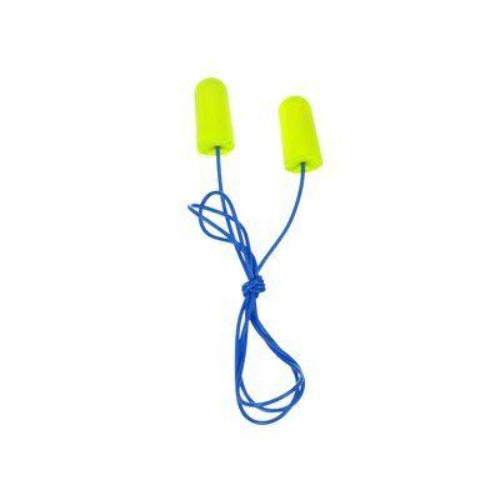 3M™ E-A-Rsoft™ Yellow Neons™ Earplugs 311-1250, Corded, Individually Poly Bagged, Regular Size with Noise Reduction Rating 33 Decibals