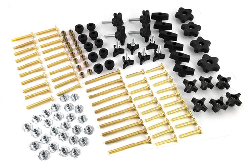 129 Piece Jig Fixture T Track Hardware Kit with Knobs, T Bolts, T Nuts, Threaded Inserts