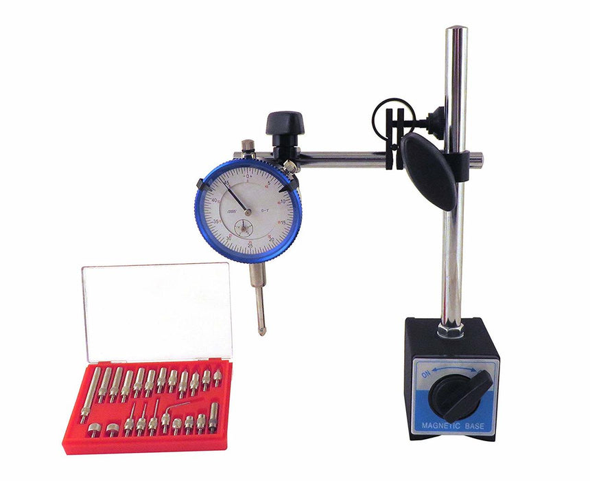 Magnetic Base with Fine Adjustment, SAE Dial Test Indicator and 22 Piece Anvil Point Set