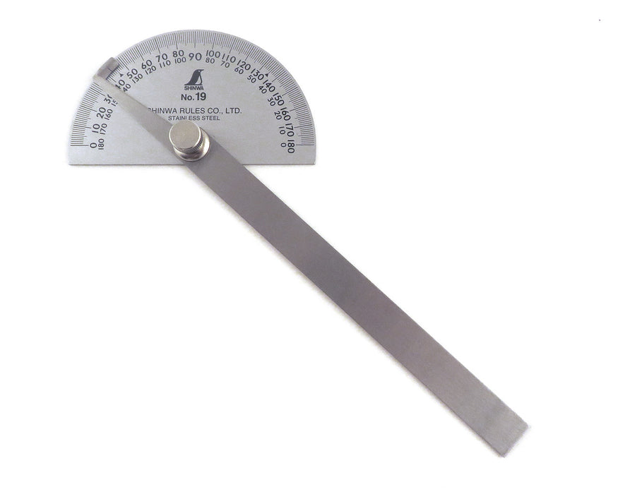 Shinwa #19 Round Head Stainless Steel Protractor