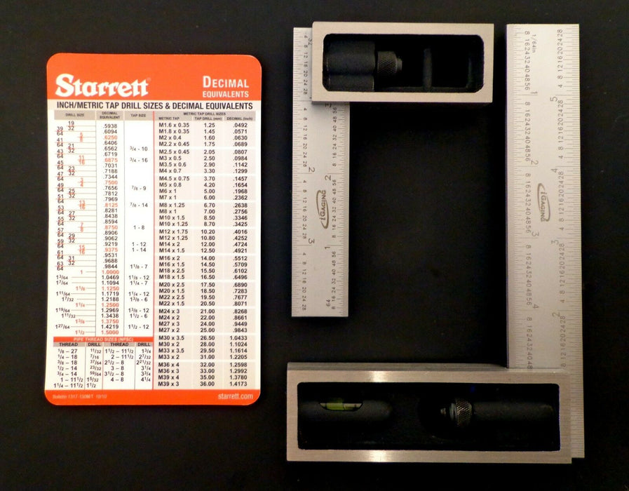 "iGaging 4"" and 6"" 4R Double Squares with Starrett Card"