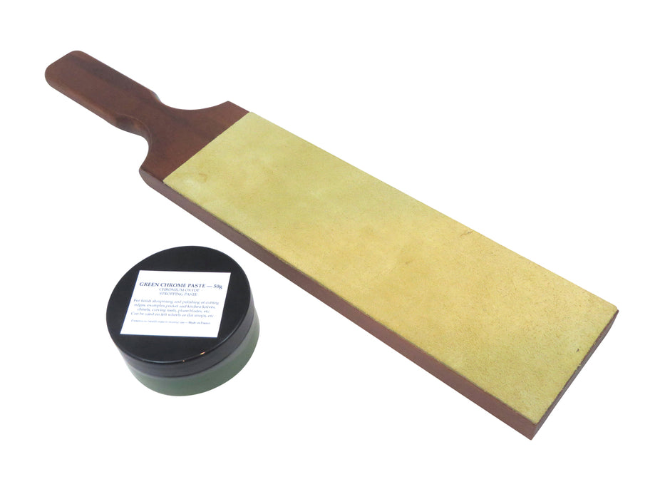 French Leather Strop with 50 Gram Jar French Green Chromium Oxide Extra-Fine Paste 107222