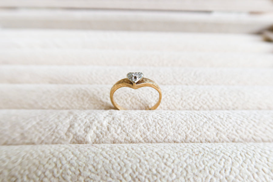 14K Yellow Gold Diamond Heart Ring