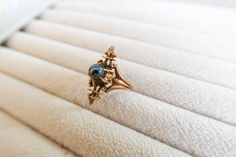 10K Victorian Rose Gold Hematite Ring