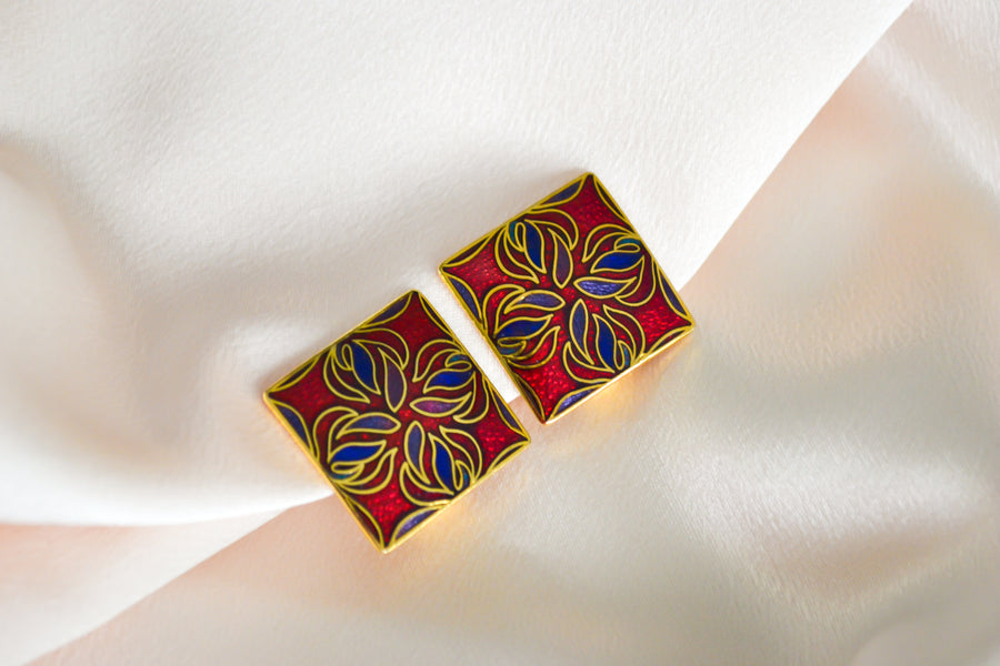 warm tone purple red gold square earrings clip on